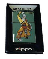 Zippo Custom Lighter Viking Warrior Axe & Shield Chameleon Green Pocket New
