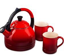 Le Creuset Kettle & Mug Set Cherry Red Stoneware 12oz Mugs Enamel 1.7 QT Tea ktl