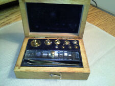 Antique August Sauter Apothecary Gold Scale Balance Weights, Complete & Original