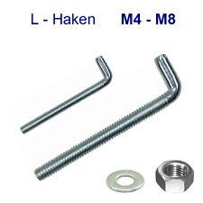 100 X Gerade Schraubhaken M8x60 Eisen glanzverzinkt