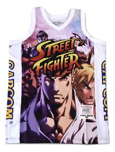 Street Fighter Mens Full Mural Basketball Jersey NWT $100 S, M, L, XL, 2XL, 3XL