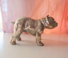 Vintage Silver Tone Solid Cast Metal Mold English Bulldog Figurine Statue Old