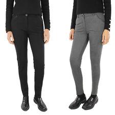 Pantalone Donna Slim Inserti in eco Pelle Taglio Dritto Elegante Made in Italy