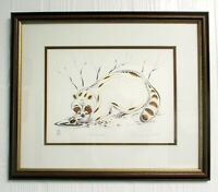 EDDY COBINESS Lithograph Art 4-Color RACCOON Frame Matted Ltd Edition 59/400 N15