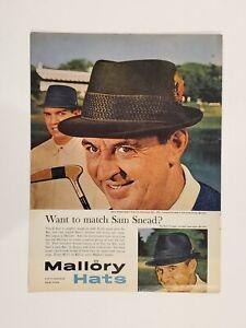Original 1962 Sam Snead Mallory Hats print ad