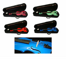 Student Violin 1/2 3/4 or 4/4 with Case & Bow in 5 Bright Vibrant Colours