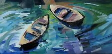 JOSE TRUJILLO Oil Painting IMPRESSIONISM ROW BOATS WATER POND SIGNED MODERN