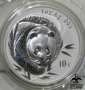 2003 Chinese PANDA 10 Yuan 1oz Silver .999 Coin ENCASED!
