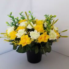 Yellow & Honeydew Roses Arrangement | Artificial Flower Pot | Grave/Memorial