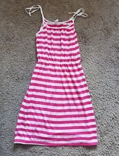 70s 80s retro pink and white striped stretchy sundress size 12 - 14