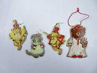 Die Cut Cardboard Ornaments Bears Kitten 1982-83 Merrimack Publ Co Mixed Lot 4