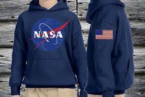 Nasa Hoodie Pullover sweatshirt USA Flag K Hoodie Black