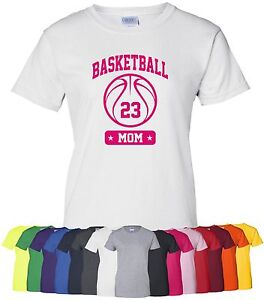 """Personalized """"Basketball Mom"""" Ladies Tee or T-Shirt S-4XL custom hoops mother"""