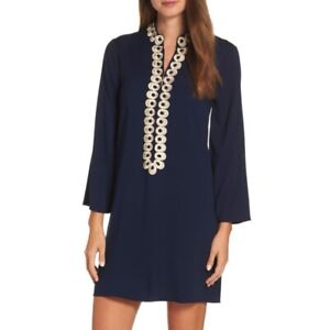 LILLY PULITZER gracelynn tunic zip dress vacation 12 Navy Gold Pullover