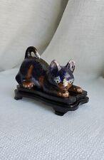Vintage China Cloisonne Enamel Blue Kitty Cat Figurine
