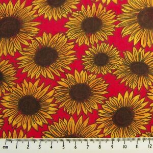RED WITH SUNFLOWERS FABRIC REMNANT 50 cms x 112cms  POLY COTTON PATCHWORK