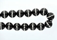2 Large BLACK ONYX Beads with Rhinestone Accents, 14mm gon0015
