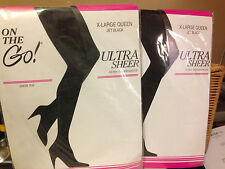 Wow! 2 pair Vintage On the Go Jet black Pantyhose xl queen