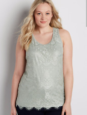 Maurices NWT plus size 0 0x  scalloped lace tank cami business casual  aqua gray