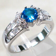 DAZZLING 1 CT BLUE TOPAZ 925 STERLING SILVER RING SIZE 9