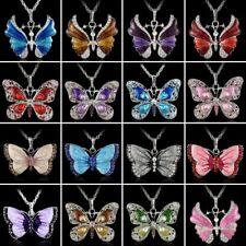 Retro Crystal Rhinestone Enamel Butterfly Pendant Necklace Sweater Chain Gift