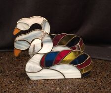 Vintage Stained Glass Swan Napkin Holder Sold As Is