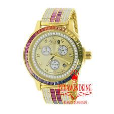 Rainbow Multi Tone Steel Baguette Solitaire Bezel Adjustable Custom Band Watch