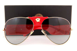 Brand New VERSACE Sunglasses VE 2150Q 100211 Gold/Red Leather Wrap/Gray Gradient