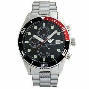 Emporio Armani AR5855 Silver Classic Sports Black Chronograph Men's Watch