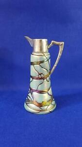 Good Loetz Bohemian Art Glass 1/2 Bottle Wine Jug w Silver Plate Silver Fittings