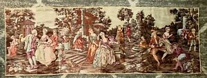 """Vintage 1927 Antique Tapestry 19"""" x 55"""" Victorian Garden Courting Couples"""