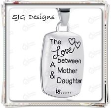 """""""THE LOVE BETWEEN A MOTHER AND DAUGHTER IS """" pendent CHARM on Box CHAIN- Silver"""