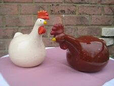 Set of 2  ROOSTER STATUE FIGURINE HOME COUNTRY DECOR CHICKEN CHUBBY BIG BELLY