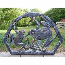 New listing Crack Resistant Antique Epoxy Coated Pewter Frog Wall-Mount Garden Hose Reel