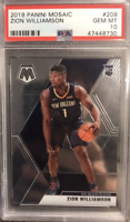 2019-20 Panini Mosaic #209 Zion Williamson Pelicans RC Rookie PSA 10 GEM MINT