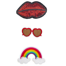 Lux Accessories Lips, Heart Glasses and Rainbow Novelty Iron Patches Set (3Pcs)
