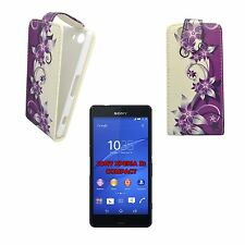 CASE FOR SONY XPERIA Z3 COMPACT PURPLE CREAM FLOWER FLIP PU LEATHER POUCH COVER