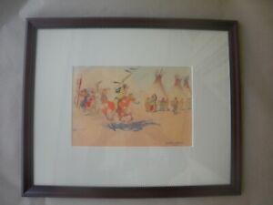 "Renowned  Western Artist Leonard Reedy, Watercolor, ""Returned of the Warriors"""