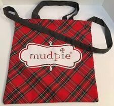 Large MUD PIE Red Plaid Shopper Tote Beach Bag Handbag Shoulder Bag with Handles