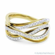 Fashion Ring 14k Yellow White Gold 0.35ct Round Diamond Right-Hand Overlap Loop