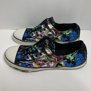 Ed Hardy Mens Lo-Top Slip On Shoes Sneakers Skull Size 8