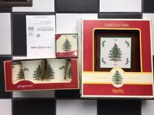 New Spode Christmas Tree Set ~ Mugs Coasters Cheese Tray Knife Lot NIB