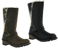 CAT Caterpillar Anna Tall Fur Lined Leather Biker Womens Boots UK3-8