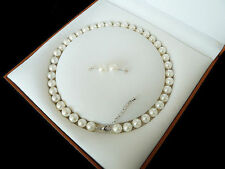 "8mm White Akoya /Cultured Shell Pearl Necklace Earring Set 18"" AAA"