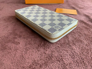 AUTHENTIC LOUIS VUITTON MONOGRAM ZIPPY WALLET ZIP AROUND LONG PURSE WHITE