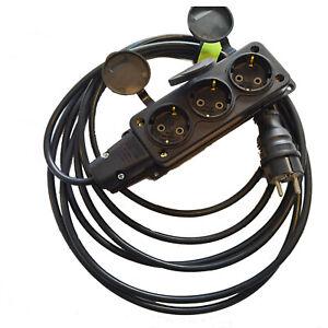 Verlängerung Kabel 3fach 4fach Gummi Verteiler 3x1,5mm² 3G1,5 3M 5M 10M 20M