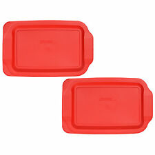 """Pyrex 233-PC Rectangle 9"""" x 13"""" 3 Quart Storage Container Lid Cover 2PK Red New"""