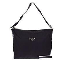 Authentic PRADA Logos Shoulder Bag Shoppers Nylon Leather Black Italy 02S144