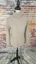 Alex Marie Women's Beige Turtleneck Cable Knit 100% CASHMERE Pullover Sweater M