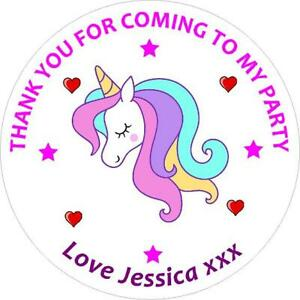 30 CUSTOM Unicorn Birthday Party Personalised Stickers Thank You Stickers